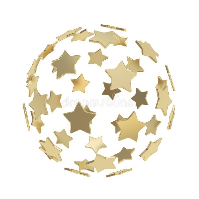Composição da esfera feita das estrelas douradas isoladas ilustração do vetor