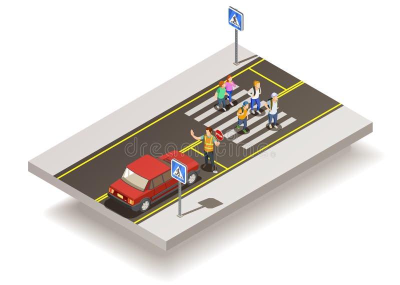 Composição da estrada do cruzamento de zebra ilustração royalty free