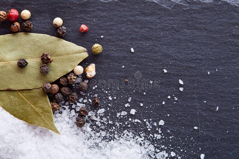 Composição da folha do louro de baía com grão de pimenta e sal no fundo escuro, vista superior, close-up, foco seletivo fotos de stock