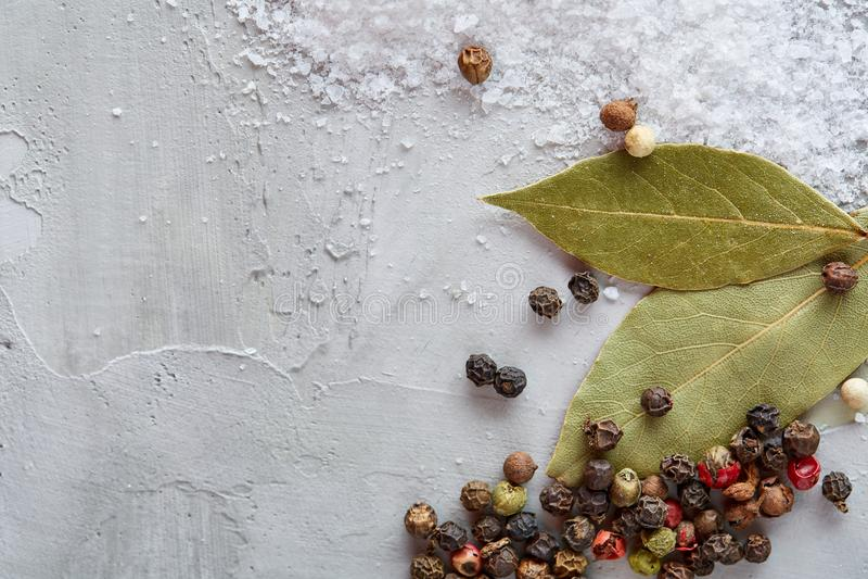 Composição da folha do louro de baía com o grão de pimenta e o sal isolados no fundo claro, vista superior, close up, foco seleti fotos de stock