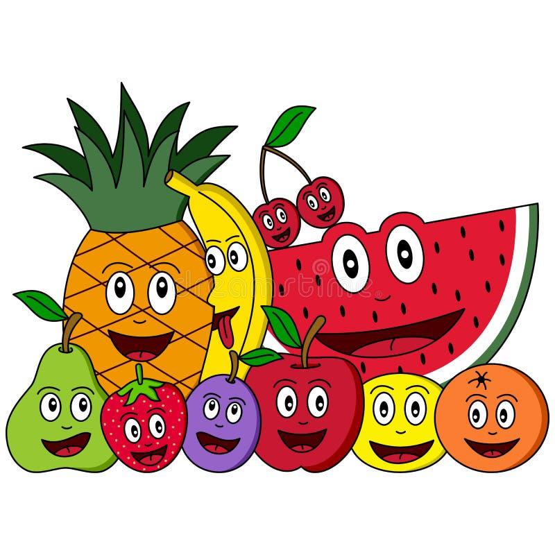 Composição da fruta dos desenhos animados ilustração stock