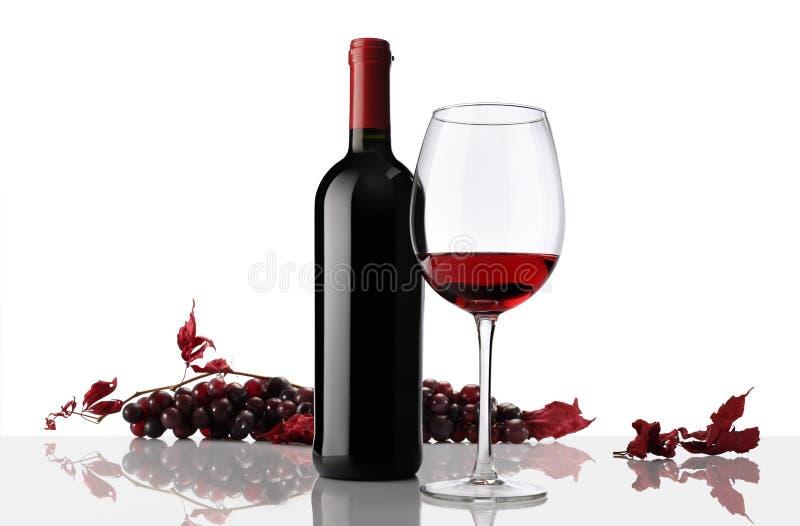 Composição da garrafa e do vidro de vinho com grupo de uvas imagem de stock