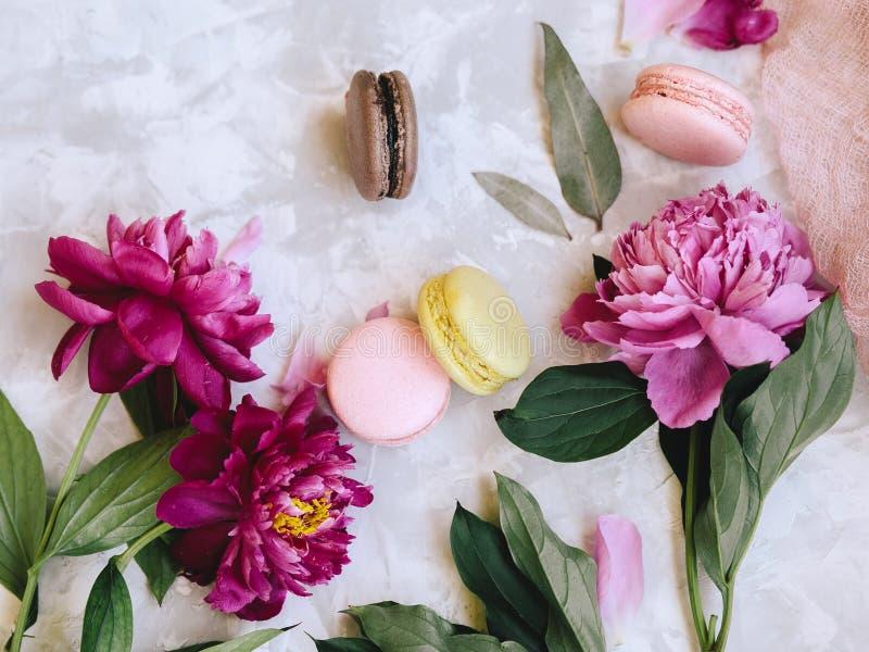 Composição da mola flatlay: os bolinhos de amêndoa coloridos com as peônias roxas e cor-de-rosa, verde saem em um fundo do betão  fotos de stock royalty free