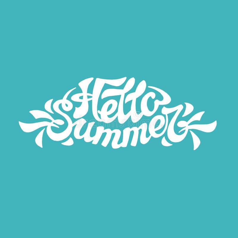 Composição da rotulação da escova verão da frase olá! Vetor ilustração do vetor