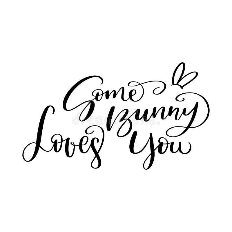 Composição da rotulação da escova de algum Bunny Loves You ilustração royalty free