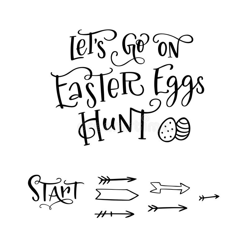 A composição da rotulação da escova Lets vai na caça dos ovos da páscoa com os ovos e a seta tirados mão ilustração royalty free