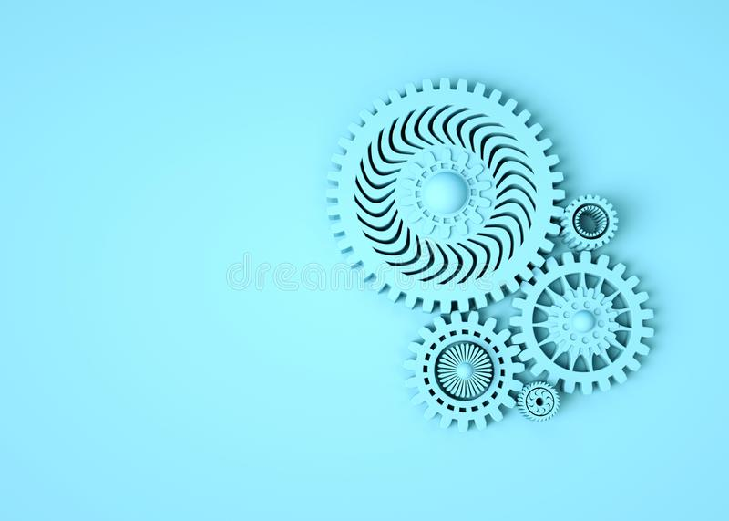 Composição das engrenagens azuis que simbolizam a cooperação e os trabalhos de equipe Lugar para o texto monocrom?tico o conceito fotografia de stock