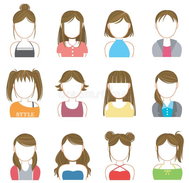 Composição das mulheres e grupo da coleção do ícone da forma ilustração stock