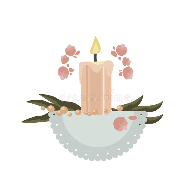 Composição das velas, das folhas, das flores e do guardanapo ilustração stock