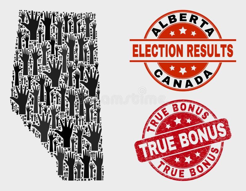 Composição de Alberta Province Map eleitoral e do selo verdadeiro riscado do bônus ilustração do vetor