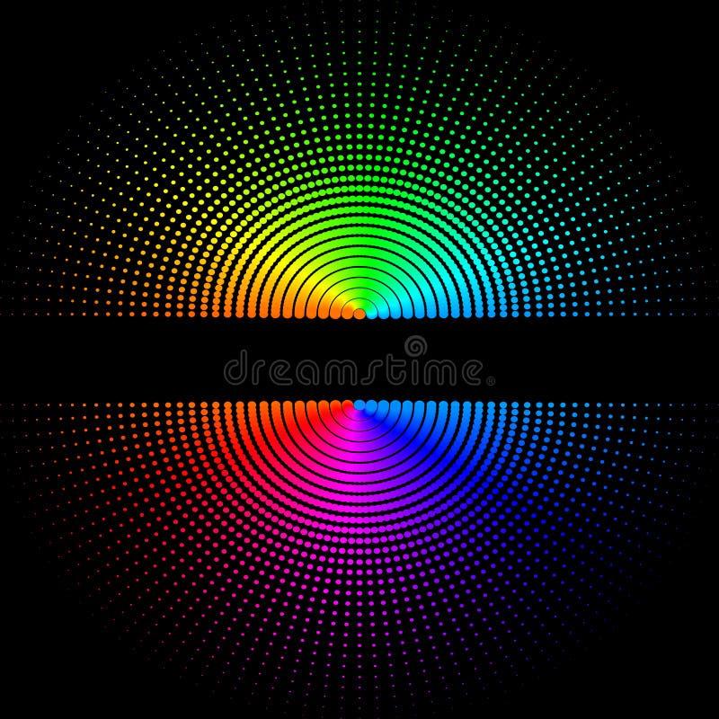 Composição de bolas coloridas redondas em um fundo preto ilustração do vetor