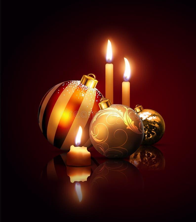 Composição de bolas e de velas do Natal em um fundo escuro ilustração royalty free