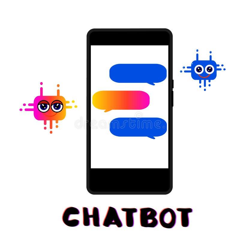 Composição de Chatbot com telefone ilustração stock
