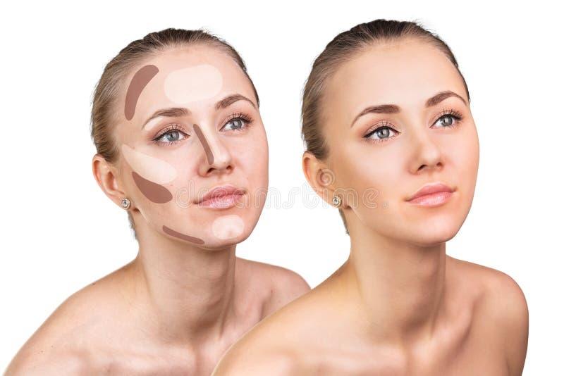Composição de contorno na cara da mulher fotografia de stock royalty free