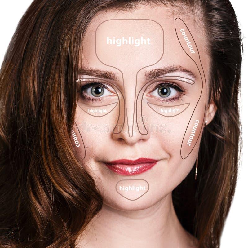 Composição de contorno profissional da cara foto de stock