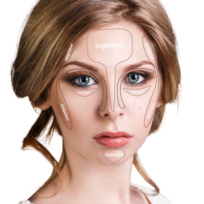 Composição de contorno profissional da cara imagens de stock royalty free