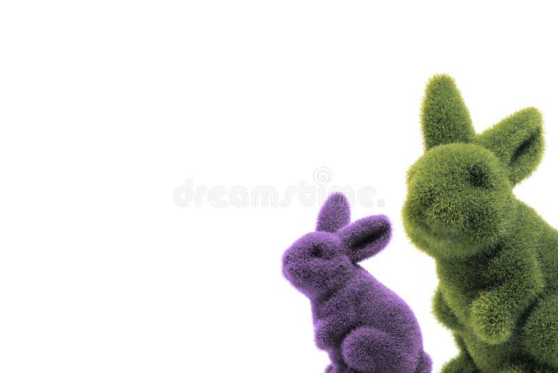 A composição de dois coelhinhos da Páscoa imagem de stock