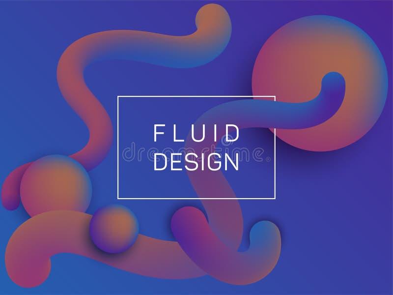 Composição de formas de gradiente fluido e esférico ilustração royalty free