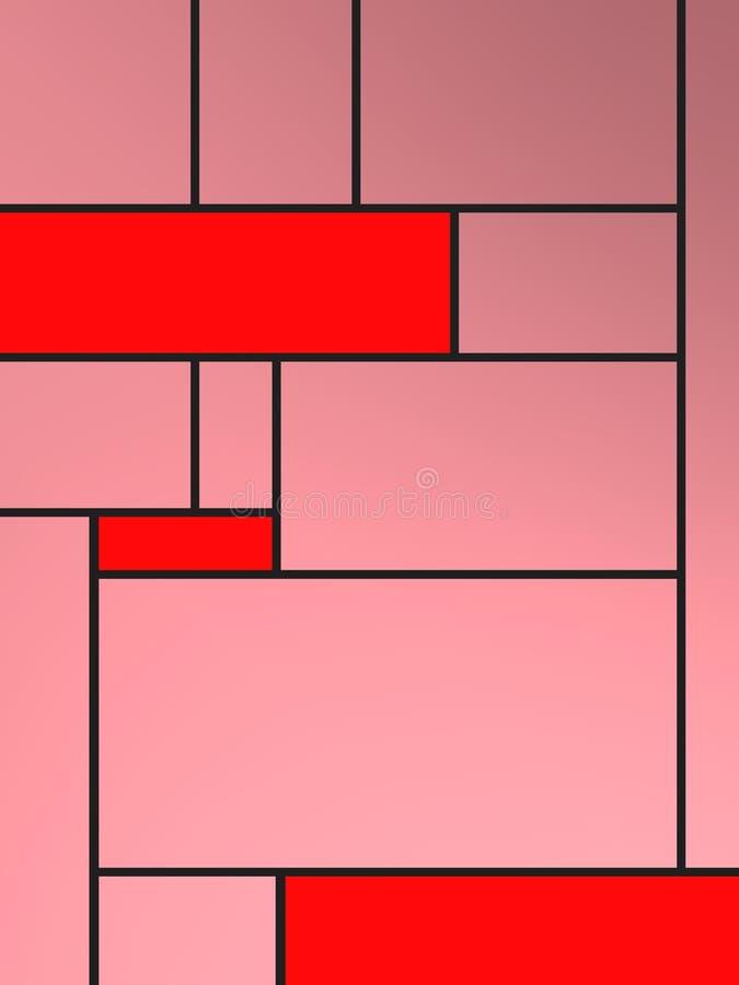 Composição de Geametric do tributo a Mondrian com cores vermelhas ilustração stock