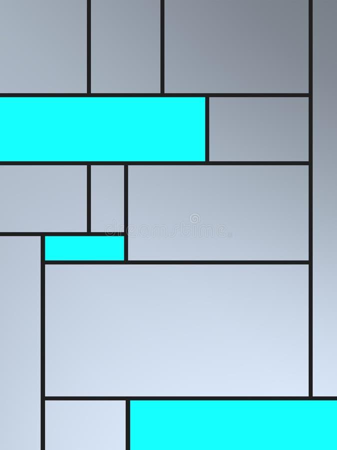 Composição de Geametric do tributo a Mondrian com retângulos esmeraldas ilustração do vetor