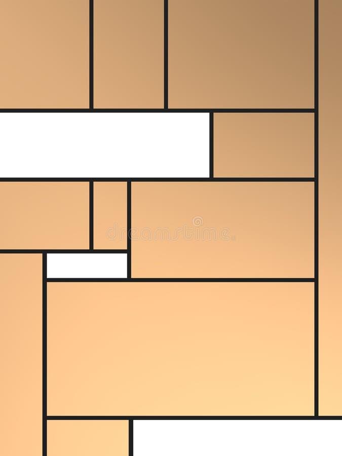 Composição de Geametric do tributo a Mondrian com com retângulos sobre o fundo do tanoeiro ilustração stock