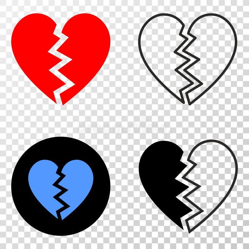 A composição de Gradiented pontilhou coração quebrado e selo de Grunged ilustração royalty free