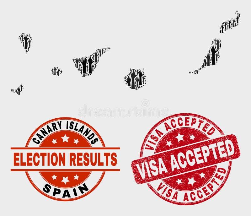 A composição de Ilhas Canárias da eleição traça e aflige o selo aceitado visto do selo ilustração do vetor