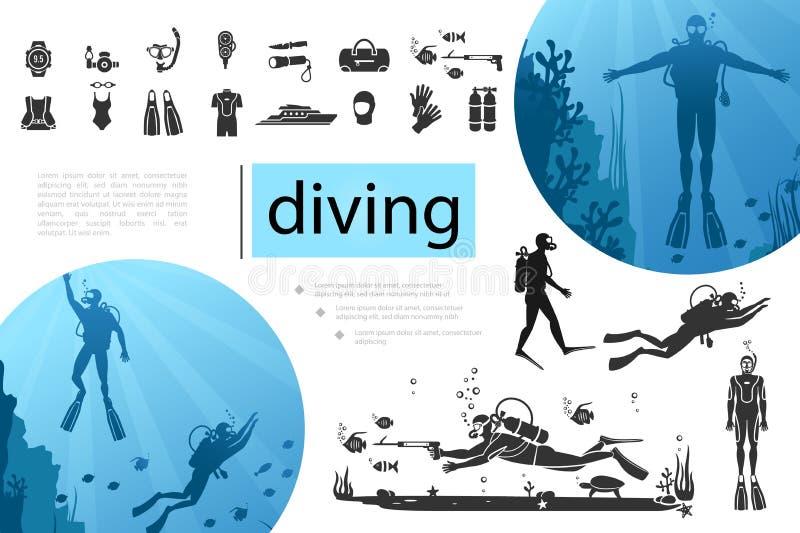 Composição de mergulho dos elementos ilustração do vetor