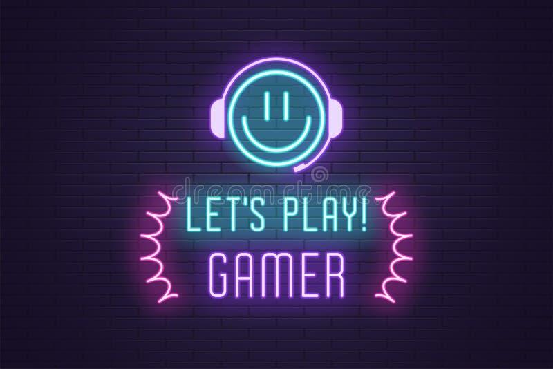 A composição de néon do título deixa o Gamer do jogo Arte ilustração do vetor