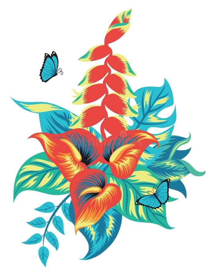 Composição de plantas tropicais ilustração stock