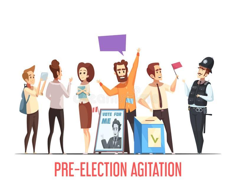 Composição de pré-eleição dos desenhos animados da política ilustração stock