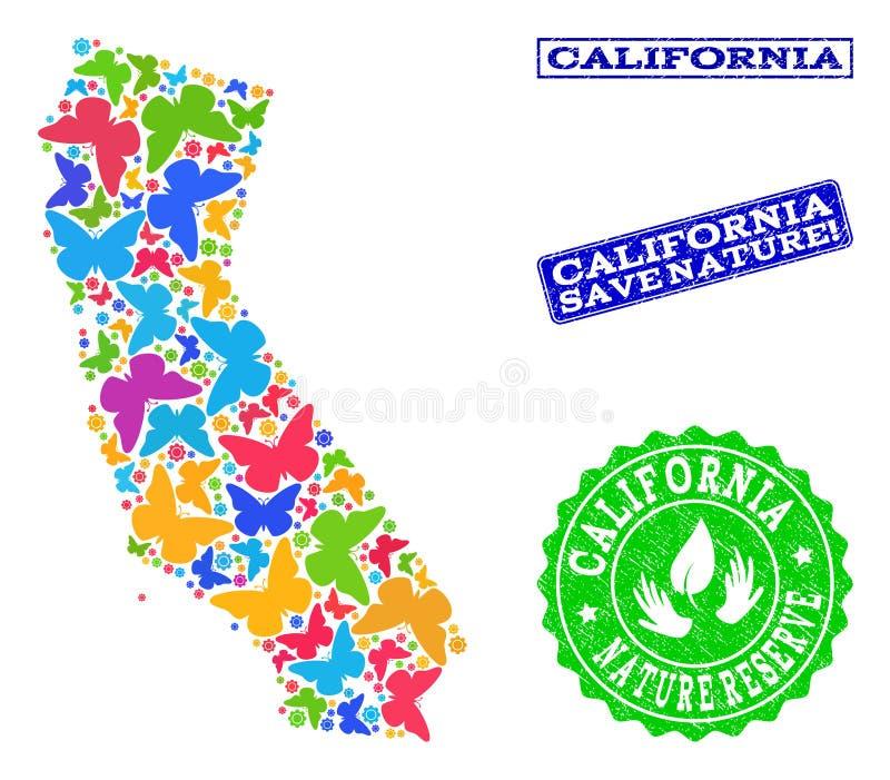 Composição de salvaguarda da natureza do mapa de Califórnia com borboletas e selos do Grunge ilustração do vetor