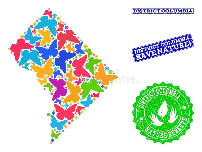 Composição de salvaguarda da natureza do mapa do distrito Colômbia com borboletas e filigranas do Grunge ilustração royalty free