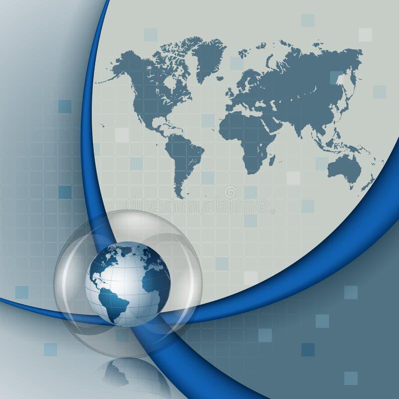 Composição de três dimensões com mapa do mundo e terra no botão/esfera de vidro ilustração royalty free