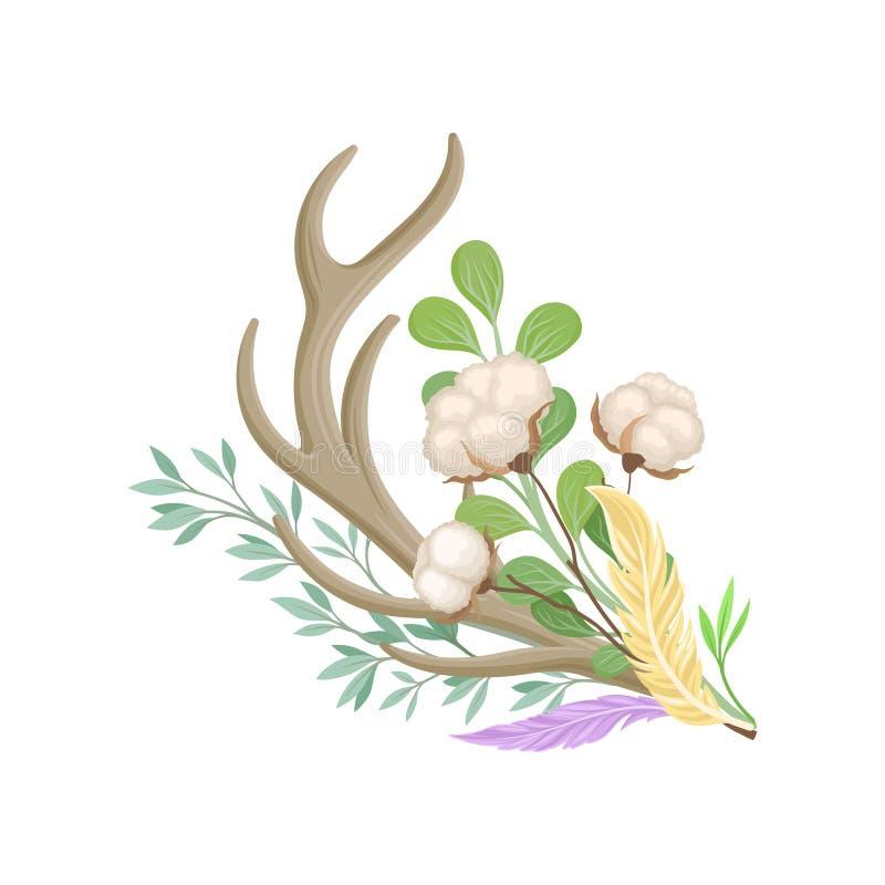 Composição de uns chifre, algodão e galho dos cervos Ilustra??o do vetor no fundo branco ilustração royalty free