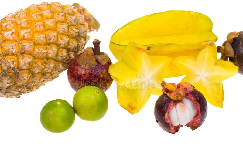 Composição de várias frutas exóticas verdes fotografia de stock