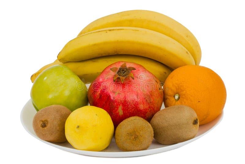 Composição de vários frutos exóticos, isolada no fundo branco foto de stock royalty free