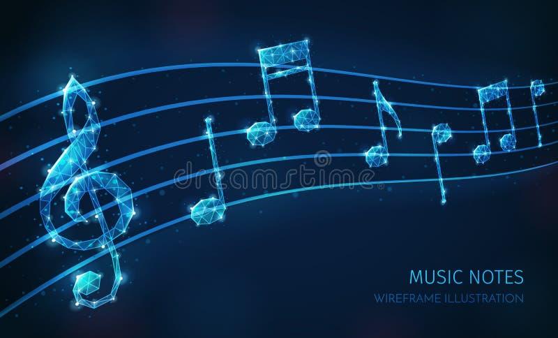 Composição de Wireframe das notas da música ilustração royalty free