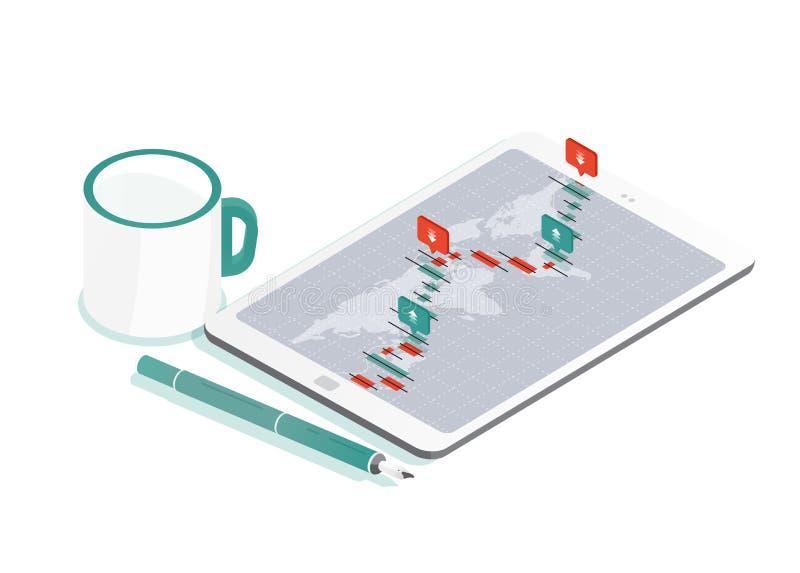 Composição decorativa com PC e mapa do mundo da tabuleta, gráfico internacional do valor de mercado da troca ou de moeda dos estr ilustração stock