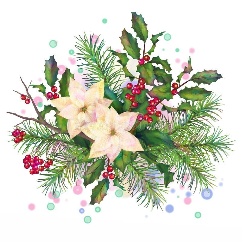 Composição decorativa da aquarela do Natal ilustração stock
