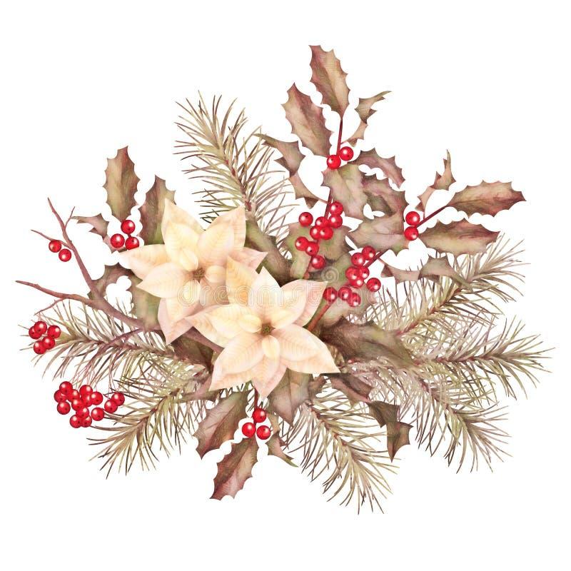 Composição decorativa da aquarela retro do Natal ilustração stock