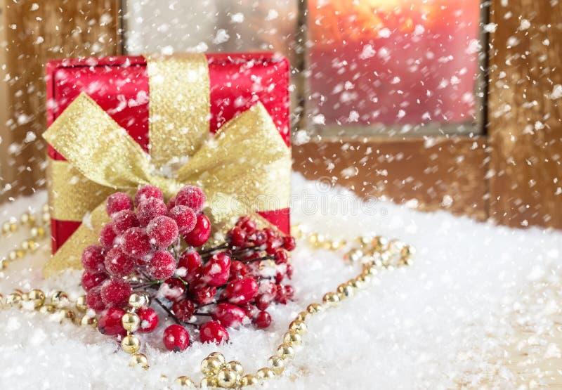 Composição decorativa do Natal Cartão do feriado do feriado postcard imagem de stock royalty free