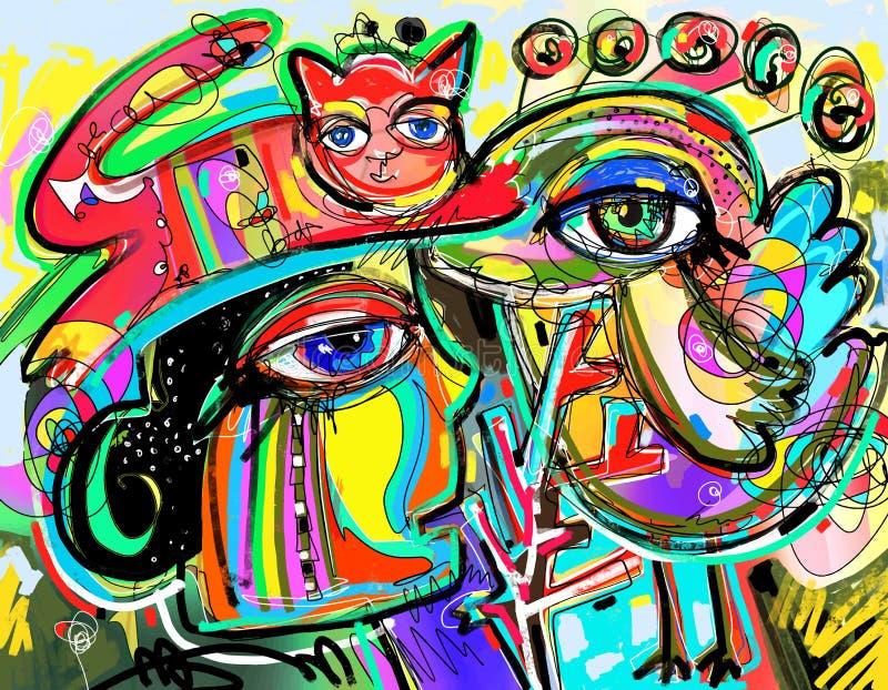 Composição digital original da arte do rosto humano, do pássaro e do gato vermelho ilustração royalty free