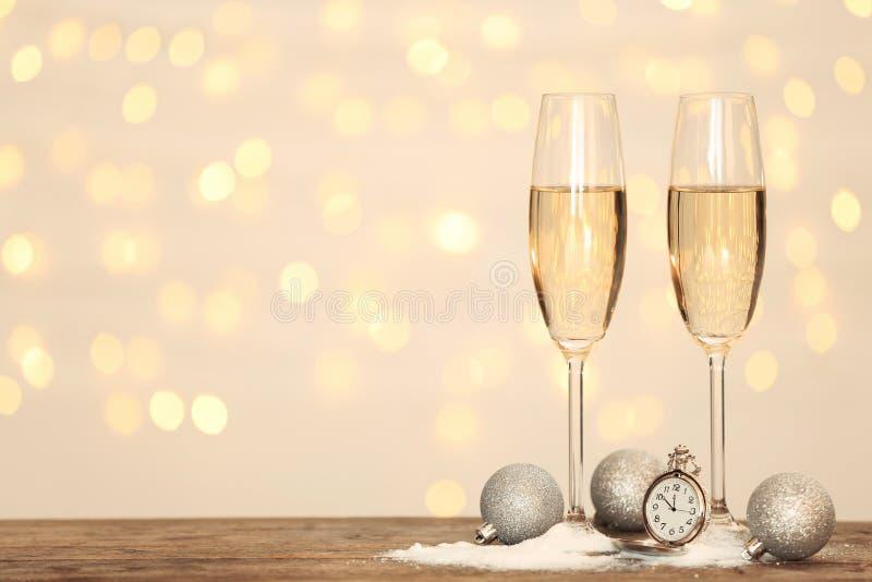 Composição do ano novo com champanhe e espaço fotografia de stock royalty free