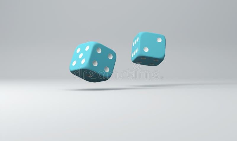 A composição do azul dois corta no fundo claro, ilustração 3d ilustração stock
