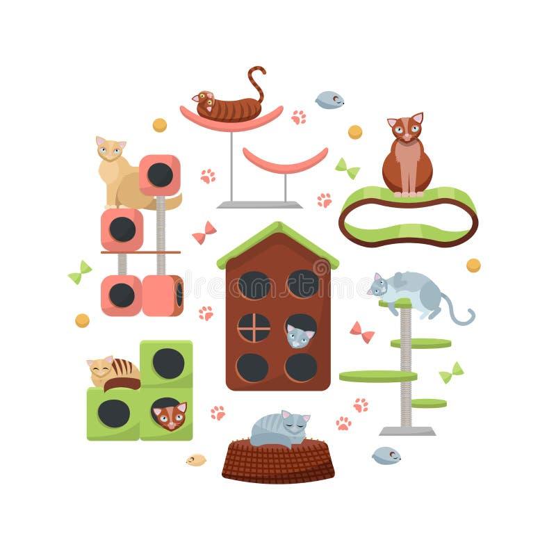 Composição do círculo dos gatos e das suas casas no fundo branco Equipamento felino diferente, árvore do gato da mobília com casa ilustração royalty free