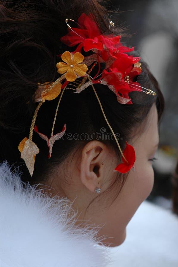 Composição do cabelo de uma menina japonesa fotos de stock royalty free