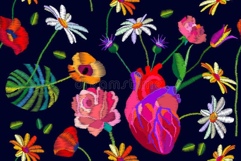 Composição do chique de Boho Teste padrão sem emenda do vetor com coração realístico e flores e folhas diferentes ilustração stock