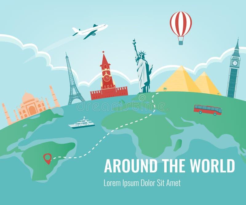 Composição do curso com os marcos famosos do mundo Curso e turismo Vetor Projeto liso moderno ilustração do vetor