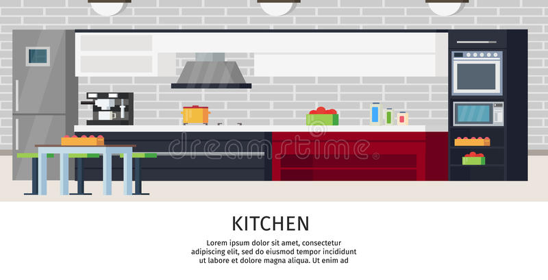 Composição do design de interiores da cozinha ilustração royalty free